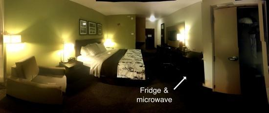 Sleep Inn & Suites: room 213. used Microsoft photosynth app for iPhone to take this. hard to see but there's a micro