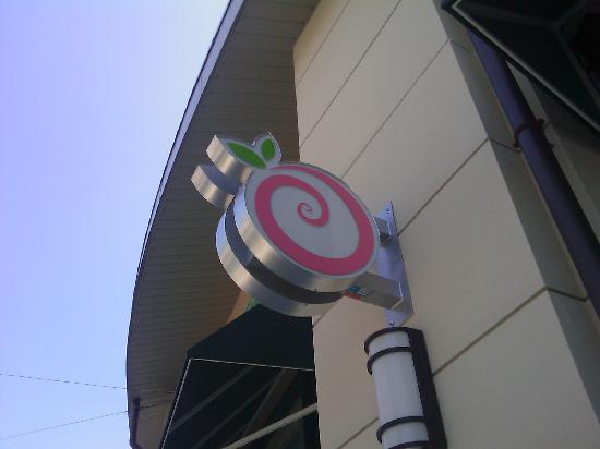 PinkBerry: store sign in the village