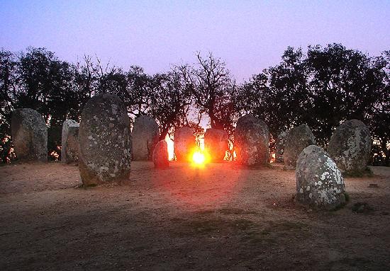 Évora, Portugal : Cromelech of Almendres in thw Winter Solstice