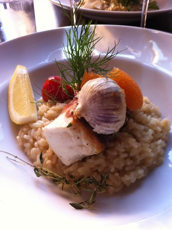 Ett Litet Hak: Halibut with pancetta and champagne risotto