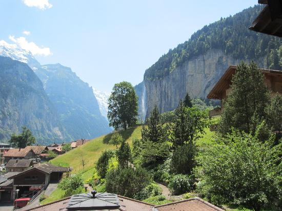Lauterbrunnen Valley Waterfalls: View of Staubach falls from Silberhorn Hotel