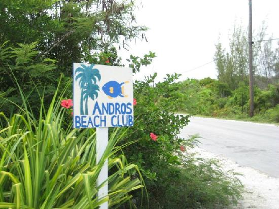 Andros Beach Club: Driveway sign