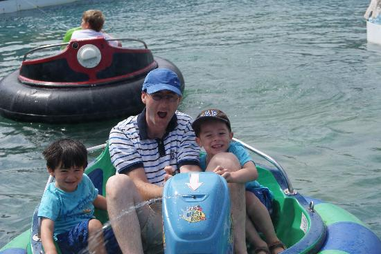 Holywell Bay Fun Park: Taking a soaking on the blaster boats