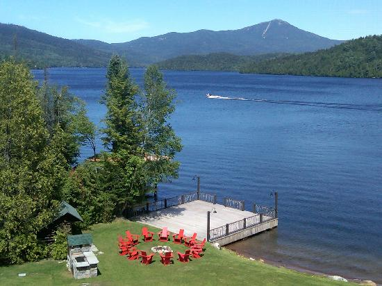 Lake Placid Lodge Lakefront Private Party Deck, Camp Fire Pit and ADK Chairs, Cookout area & Lea
