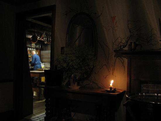 The Crystal Quail: Kitchen view from the candlelit dining room