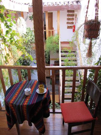 "Hostal El Grial: ""My"" small table infront of the door"