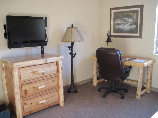 North Park Lodge: A flat screen TV w/remote and desk area