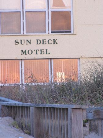 Sun Deck Motel: View of the SunDeck from the beach at sunrise.