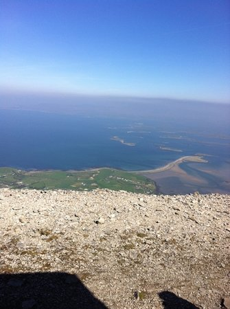 Ballintubber Abbey: view from top of Croagh Patrick across Clew Bay