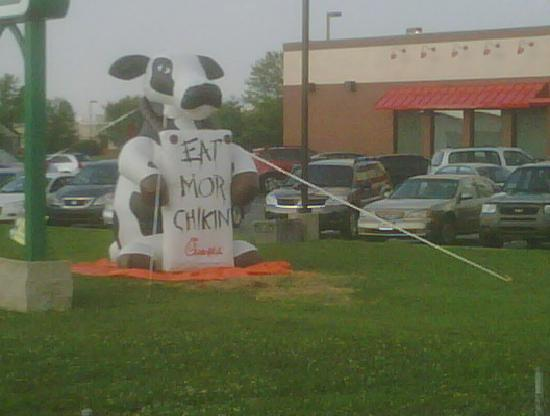 Hampton Inn Evansville: Nice and funny ad in nearby chicken restaurant