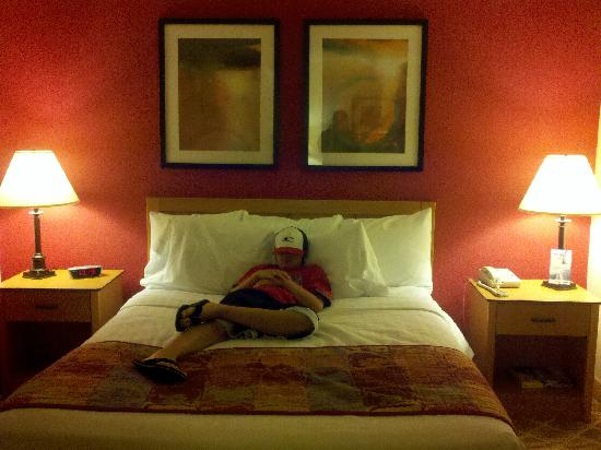 Residence Inn Salem: My son trying to lay claim to the bed.