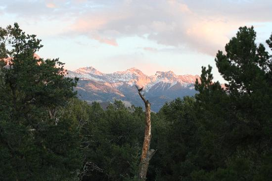 Ridgway State Park: a view of the Sneffle range from the yurts