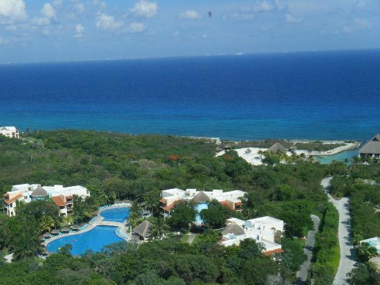 Occidental at Xcaret Destination: Arial of Resort taken from Observatory @ Xcaret-Quiet pool, surrounding buildings, jungle and be
