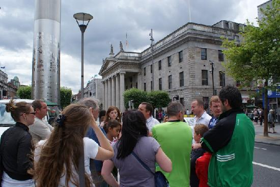 Rebel Tour of Dublin: A tour group at the GPO - the HQ of the Rebels of 1916