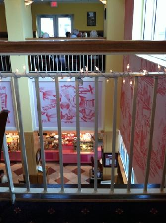Praline Bakery & Bistro: Looking down at bakery from dining room.