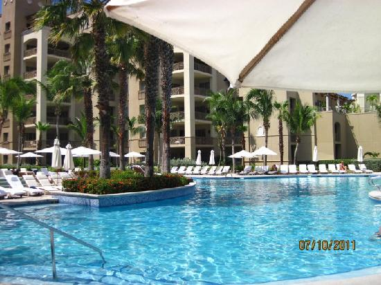 The Ritz-Carlton, Grand Cayman: View of the pool, not even sure if I went in, the beach was heaven!