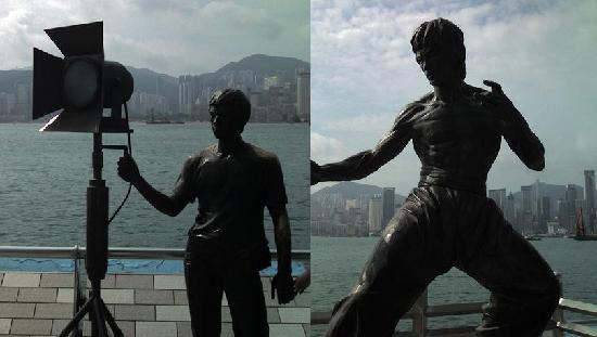 จิมซาจุ่ย พรอเมอนาด: ブルース・リーの銅像と、映画撮影風景銅像