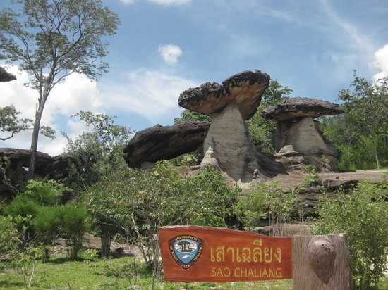 Ubon Ratchathani Province, Thailand: Mushroom shaped stones Pha Taem National park