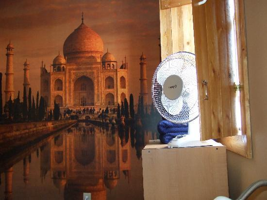 Poppi's Private Room Hostel : I stayed in the Indian room wit a wallpaper of the Taj Mahal