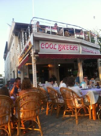 Cool Breeze Restaurant: evening sun and food at cool breeze