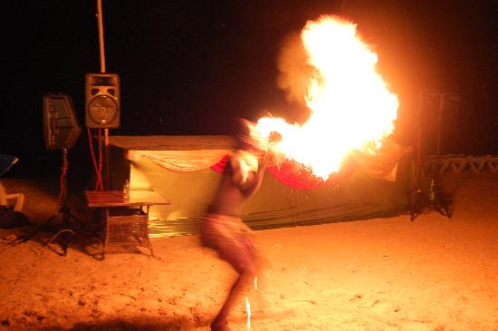Beaches Negril Resort & Spa: Fire Breathing entertainment at the Beach Party