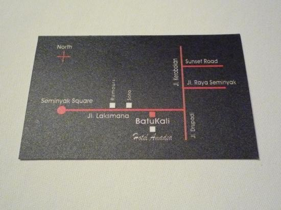 bistro batu kali map of directions on back of business card - Back Of Business Card