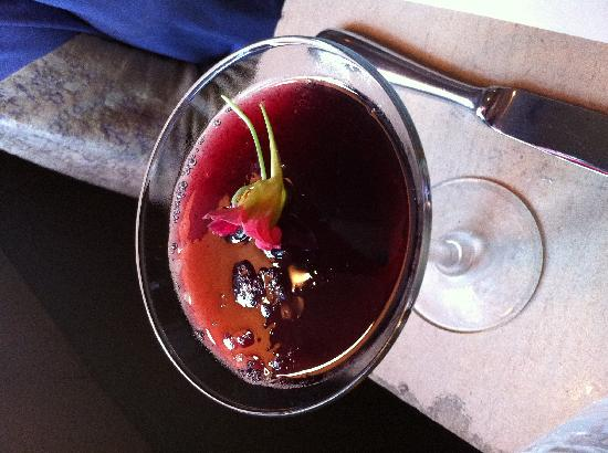 Hot & Hot Fish Club: Love a drink with a flower floating in it.