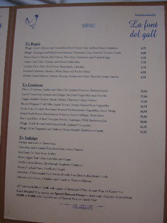 La Font del Gall: The main menu