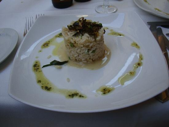 La Font del Gall: Fennel and pea risotto with basil pesto