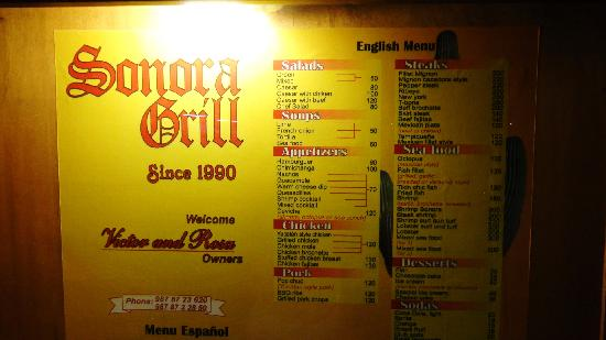 Sonora Grill: English Menu