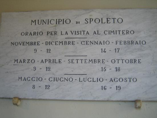 Spoleto, إيطاليا: Orari di apertura.