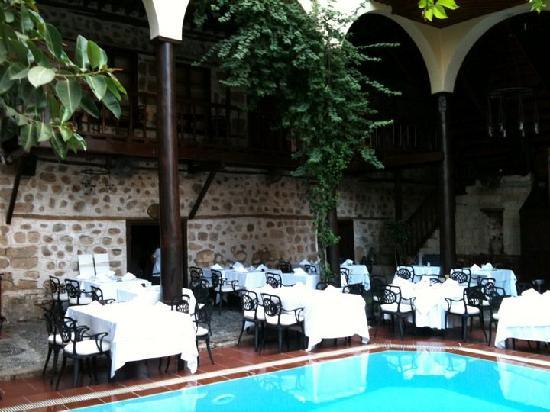 Alp Pasa Hotel : Piscine d'agrément avec restaurant en plein air