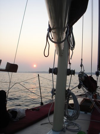 The Pineapple Ketch: Coming back in to the Harbor on the Ketch at Sunset.