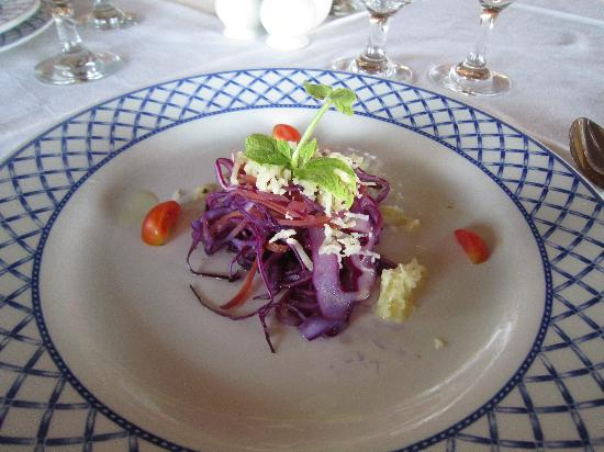 Melia Buenavista: gala dinner salad - red cabbage with semi melted cheese
