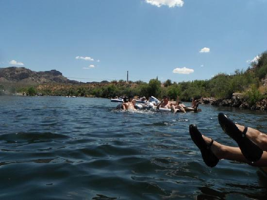Salt River Tubing: a view down the river from our tubes