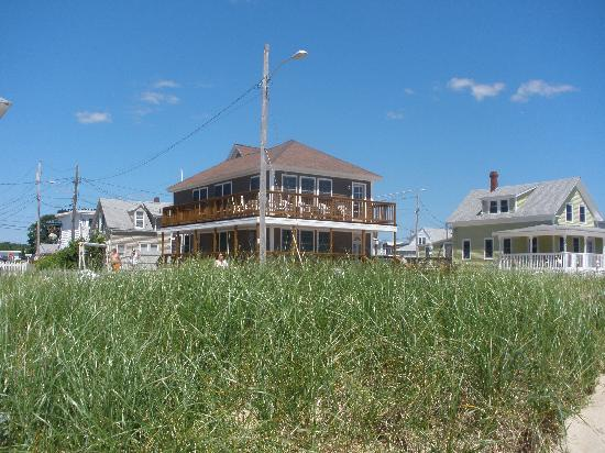 Echo Motel & Oceanfront Cottages: view from the beach toward Echo Motel