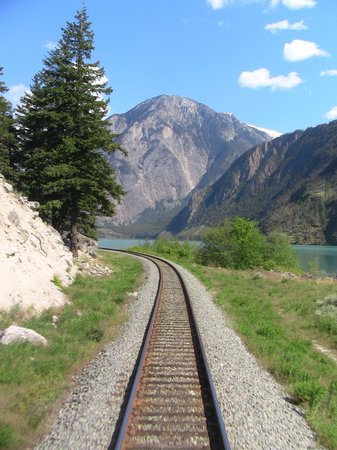 The Rocky Mountaineer Train: View from the rear of the train