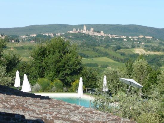Casolare di Remignoli B&B : vue de la chambre sur San Gimignano