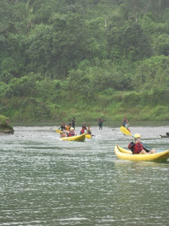 Rivers Fiji - Day Adventures: getting pushed over the shallows by local kids!
