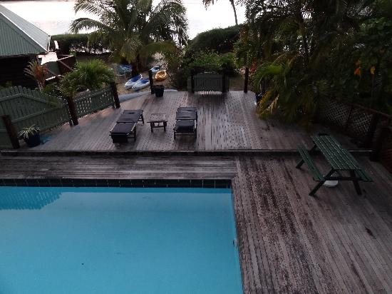 Sokala Villas: Our villa's pool with deck next to Muri lagoon