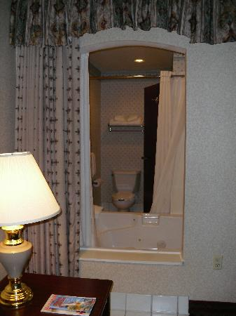 Comfort Suites: View from the bed into the bathroom.