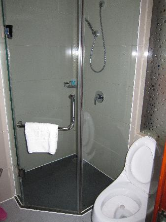 Hua Sheng International Hotel : shower & toilet