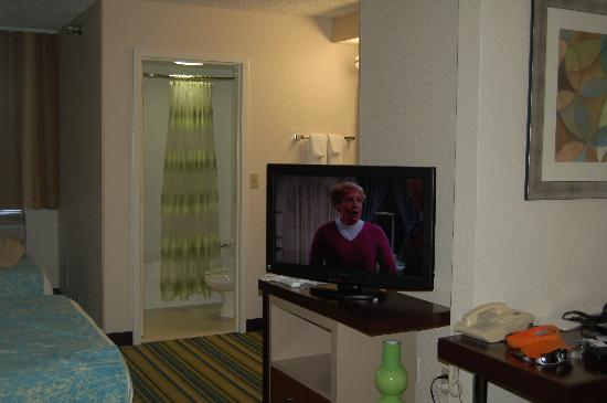 SpringHill Suites San Antonio Medical Center/Northwest: TV would swivel between bed and living area