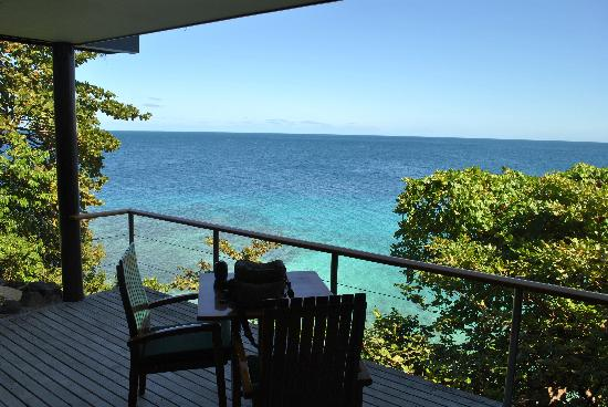 Royal Davui Island Resort, Fiji: The view from the Main deck (Bure 2)