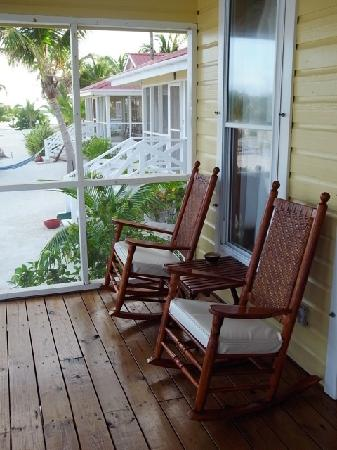 Turneffe Island Resort: The porch of the cabana, where our morning coffee was served
