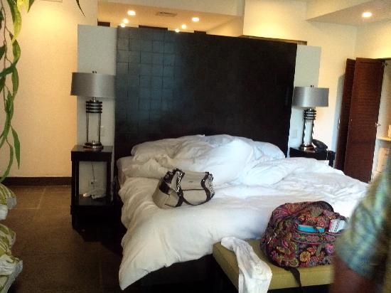 The Preserve at Los Altos: This is our (messy) master bed the morning we were leaving.  Great balcony and bathroom in here,