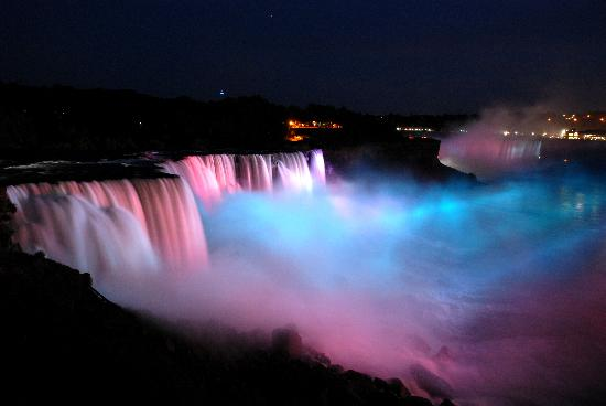 Niagara Falls: The evening light show changes colors every few minutes.