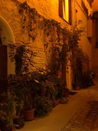 Castelvetro di Modena, Italie : vicolo esterno di sera romantico