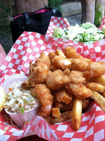 wildside grill: fries with fried prawns