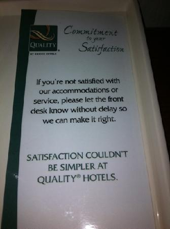 Quality Inn Hudsonville: Really? I did and no one made it right for us!?!